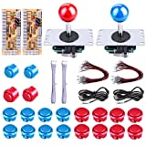FOME Arcade DIY Parts, Arcade Buttons Kit Game Buttons Kit USB Encoder 2 Sets USB Computer Control Board Wire 2 x 5Pin Joysticks 4x24mm Push Button 16x30mm Buttons For Arcade Games DIY Kits