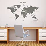 Decowall DL-1509G Modern Grey World Map Kids Wall Decals Wall Stickers Peel and Stick Removable Wall Stickers for Kids Nursery Bedroom Living Room (Large) (Color: Grey, Tamaño: Large_1509G)