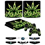 Skins for PS4 slim Controller - Decals for Playstation 4 slim Games - Stickers Cover for PS4 slim Console Sony Playstation Four Accessories with Dualshock 4 Two Controllers Skin - Weeds Black (Color: Weeds Black)