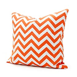 Lavievert 18 X 18 Inches Decorative Cotton Canvas Square Throw Pillow Cover Cushion Case Handmade White and Orange Chevron Stripe Toss Pillowcase with Invisible Zipper Closure (For Living Room Sofa Etc...)