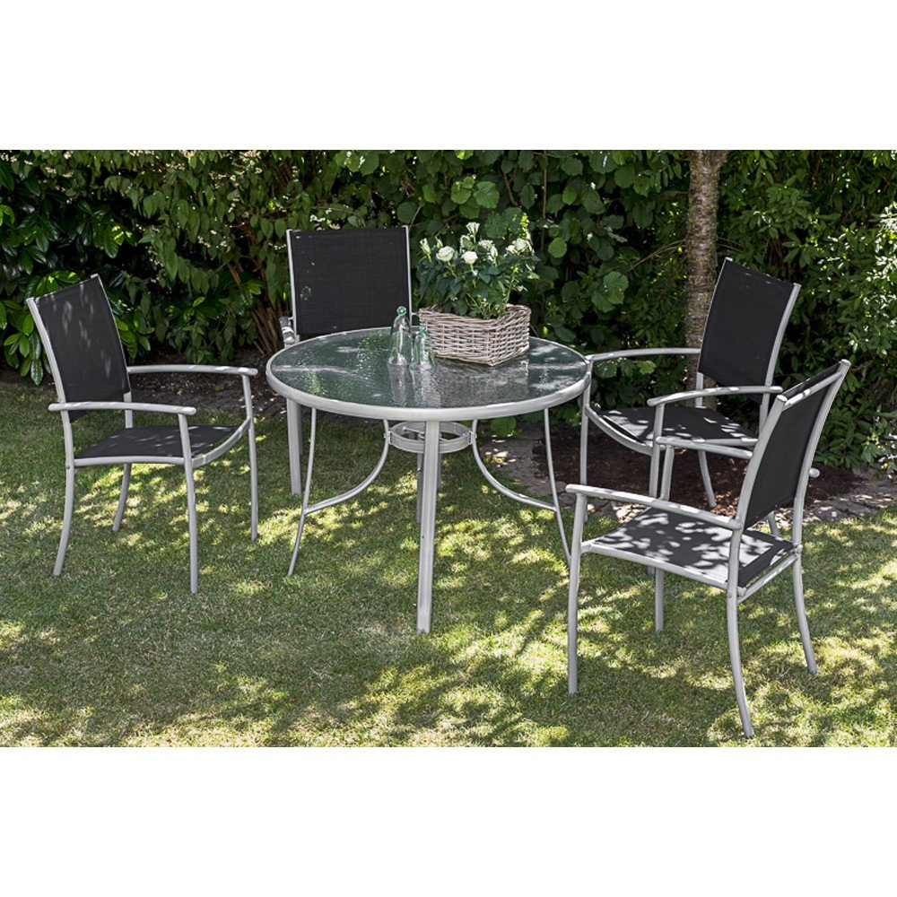 merxx gartenm bel set rimini 5 tgl stapelsessel und tisch 100 cm jetzt kaufen. Black Bedroom Furniture Sets. Home Design Ideas