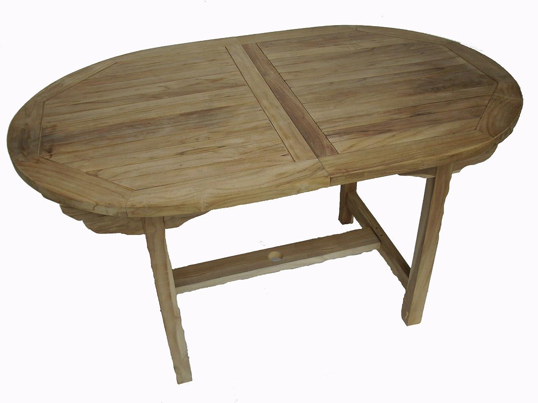 Ambientehome Teakholz ausziehbarer Tisch Esstisch oval, Natur, ca. 180 / 240 x 100 cm