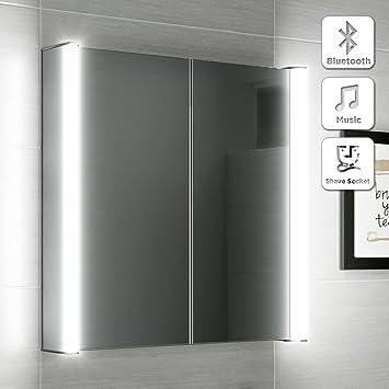 600 x 650 Illuminated LED Bathroom Mirror Cabinet + Shaver Socket Bluetooth Speaker