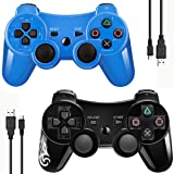Double Vibrating Wireless Controller for PS3 With Charge Cable (Blue+Black) (Color: Blue+Black)