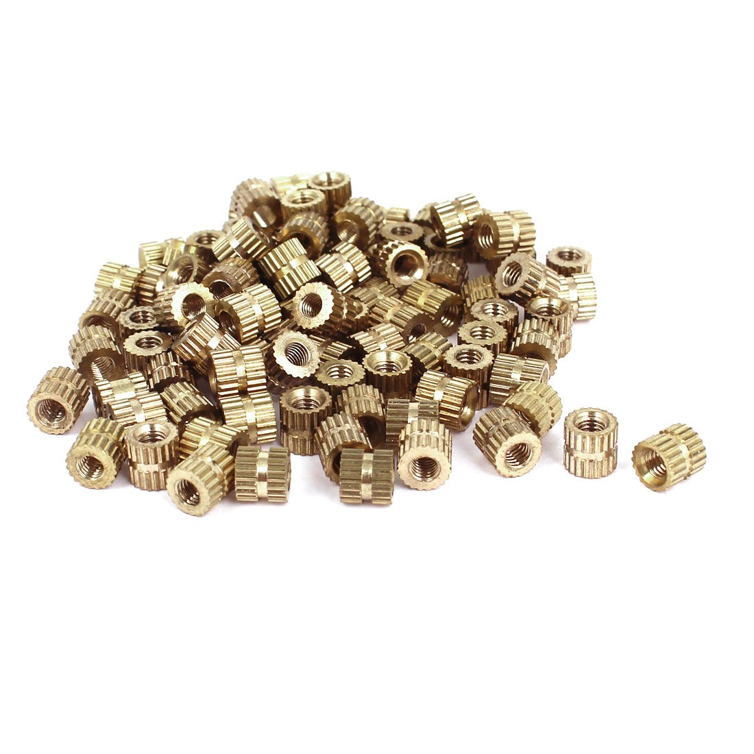 M3x5mm(L)-5mm(OD) Metric Threaded Brass Knurl Round Insert Nuts 100pcs