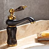 LHbox Basin Mixer Tap Bathroom Sink Faucet European and American Style, Copper, Jade, Basin, hot and Cold, Wet Cock 4 (Color: 4)
