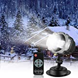 Snowfall LED Light Projector,Sanwsmo Christmas Snow Light,Snow Falling Projector Lamp Dynamic Snow Effect Spotlight for Garden Ballroom, Party,Halloween,Holiday Landscape Decorative(Waterproof Remote) (Color: Black)