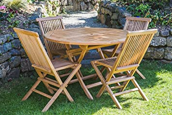 Solid Teak 1.2m Circular Folding Garden Table and Chair Set