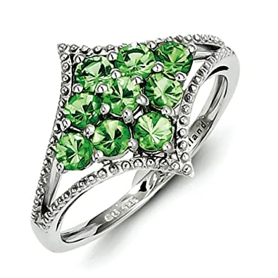 Sterling Silver Tsavorite Ring - Ring Size Options Range: L to R