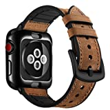 OUHENG Compatible with Apple Watch Band with Case 42mm, Sweatproof Genuine Leather and Rubber Hybrid Band with Soft TPU Case Watch Band Strap Compatible with Apple Watch Series 3 2 1, Brown (Color: Hybrid Brown Band with Black Soft TPU Case, Tamaño: 42 mm)