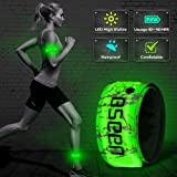 BSEEN LED Armband, 2ed Generation LED Slap Bracelets, Patented Heat Sealed Glow in The Dark Water/Sweat Resistant Glowing Sports Wristbands for Running, Cycling, Hiking, Jogging (Green-Design II) (Color: Green-Design II)