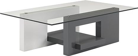 Mesa de centro de cristal–Color blanco y gris antracita lacado bandeja estilo