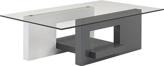 Tavolino design laccato bianco e grigio antracite vassoio vetro