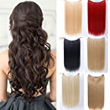 SHANGKE HAIR Fish Line Straight Hair Extensions Secret Invisible Hairpieces Flip On Wire In Synthetic Hair extension Hidden Invisible Not Clip In Headband Straight High Temperature Fiber