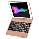 Sounwill New iPad 9.7 iPad Pro 9.7 Keyboard Case 2018/2017, Ultra Thin Folio Smart Case Protective Cover with Keyboard for iPad Air, iPad Air 2, iPad Pro 9.7, New iPad 2018 and iPad 2017 (Rose Gold) (Color: Rose gold)