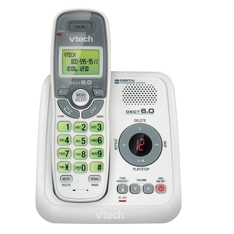 Telefonos-fijos Vtech, VTech CS6124 DECT 6.0 teléfono inalámbrico con sistema contestador y Caller ID/llamada en espera, blanco con teléfonos inalámbricos 1 auricular  en Veo y Compro