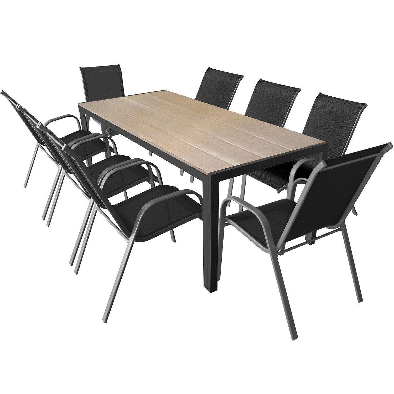9-teiliges Gartenmöbel Set Gartengarnitur Aluminium Polywood Gartentisch 205x90cm + Gartenstühle Stapelstühle Stahlgestell pulverbeschichtet mit Textilengewebe Sitzgruppe Sitzgarnitur günstig