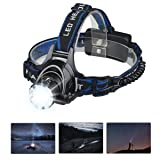Mifine Waterproof LED Headlamp with Zoomable 3 modes 1000 Lumens light, hands-free headlight with Rechargeable batteries for biking camping hunting running rainy weather (Color: Black)