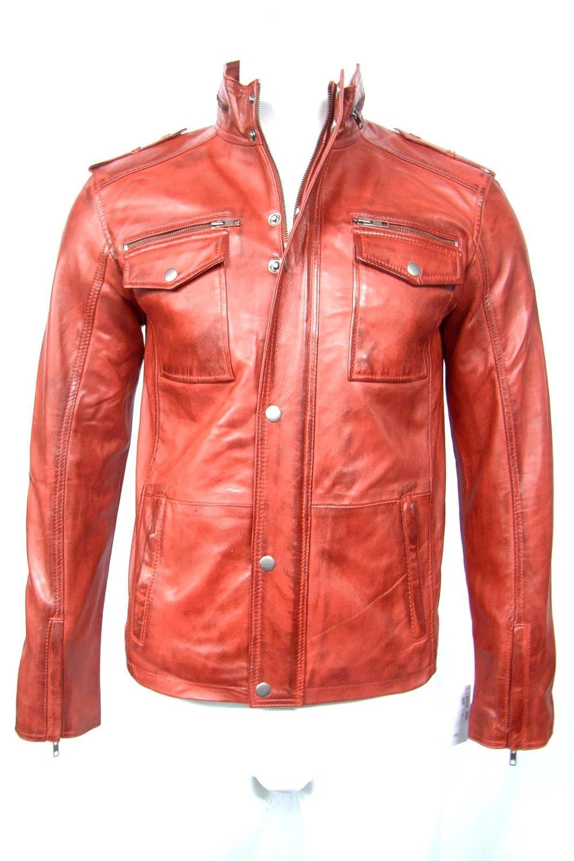 Safari Red 2 Washed Ledereffekt Mann Leder weich Lederjacke