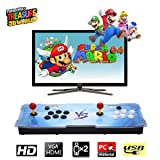 HAAMIIQII [2200 HD Retro Games] Pandora Treasure 3D Box Arcade Game Console 1920x1080 Full HD 2 Players Arcade Machine Support TF Card to Add More Games for PC / Laptop / TV / PS Controller (Blue VS) (Color: Blue Vs)