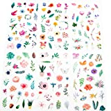 Molshine 12sheets (About 300pieces) Die-Cutting Stickers-Plant Flower Watercolor Series Decals for DIY,Bullet Diary Decoration,Laptops,Scrapbook,Luggage,Cars,Books,Sealing-6 Different Patterns x 2 (Color: WT-347)