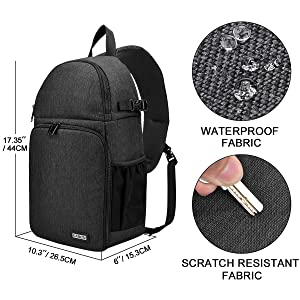CADeN Camera Bag Sling Backpack, Camera Case Waterproof with Modular Inserts Tripod Holder for DSLR/SLR and Mirrorless Cameras (Canon Nikon Sony Pentax)