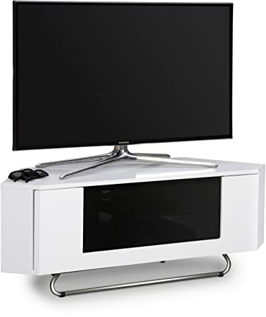"Centurion Supports Hampshire Corner-friendly Gloss bianco con contrasto nero Fascio-Thru remoto amichevole Porta 26 ""-50"" TV a schermo piatto Cabinet"