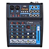 Pyle Professional Audio Mixer Sound Board Console System Interface 4 Channel Digital USB Bluetooth MP3 Computer Input 48V Phantom Power Stereo DJ Studio Streaming FX 16-Bit DSP Processor - (PMXU43BT) (Color: Black)