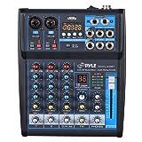 Pyle Professional Audio Mixer Sound Board Console System Interface 4 Channel Digital USB Bluetooth MP3 Computer Input 48V Phantom Power Stereo DJ Studio Streaming FX 16-Bit DSP processor - (PMXU43BT) (Color: Black)