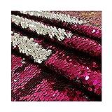 Reversable Sequin Fabric 5mm Mermaid Shiny Flip Sequins Reversible Sequin Fabric Material for Sewing 9 Feet 3 Yards Fuchsia to Silver -1019S (Color: Fuchsia to Silver, Tamaño: 3 Yards)