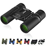 Kissarex Adults Compact Travel Binoculars: 8x21&10x25 Mini Pocket Small Size Lightweight Best Outdoor Theatre Tactical Hiking Kids Concert Sports Camping Low-Light Night Vision Waterproof EasyFolding (Color: 01-Black, Tamaño: 8x21)