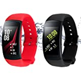 Rukoy Bands for Samsung Gear Fit 2 Band/Gear Fit 2 Pro[2-Pack: Black+Red], Replacement Straps Accessories for Samsung Gear Fit2 Pro SM-R365/Gear Fit2 SM-R360 Smartwatch (5.9