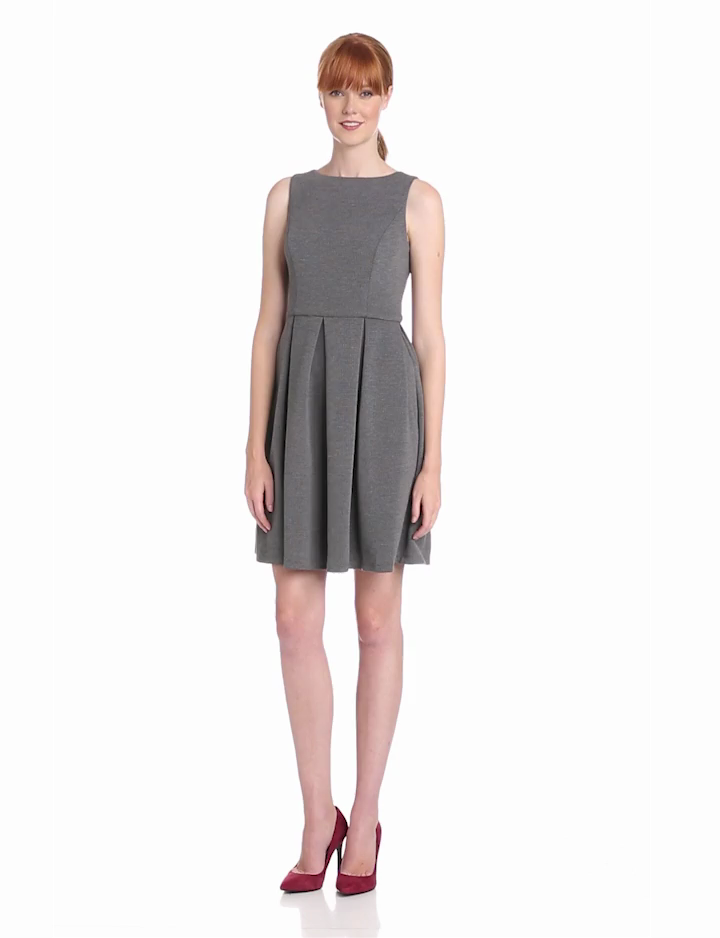Isaac Mizrahi Womens Sleeveless Ponti Fit and Flare Dress, Luxe Grey, 2