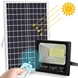 2019 Upgraded 200W LED Solar Flood Light 400LED Dusk to Dawn Solar Powered Street Light Outdoor Waterproof IP67 with Remote Control Solar Chargeable Flood for Backyard|Garage|Driveway|Basketball Court (Color: White)
