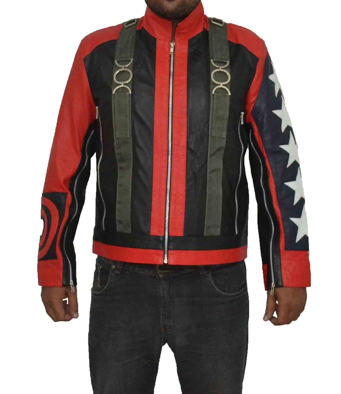 U2 Bono Paul David Hewson 5 Stars on Seleeves Stylish Slim Fit Sheep Leather Jacket