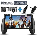 PUBG Fortnite Mobile Game Controller – [New Version] SEMSA Cell Phone Gaming Joystick Accessories, Gamepad, L1R1 Sensitive Shoot and Aim Triggers Fire Buttons for iOS Android (2 Trigger and Game pad) (Color: Black and Metal)