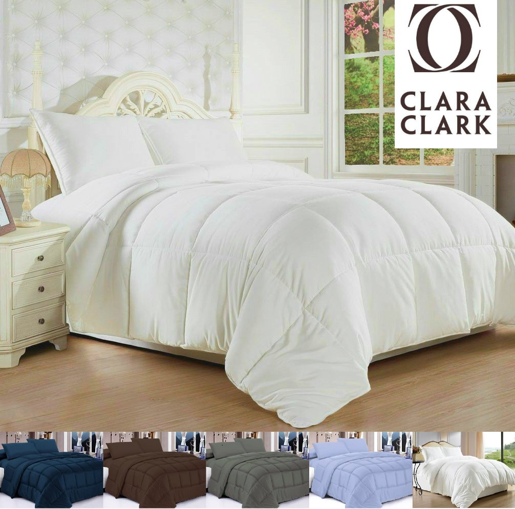 clara clark white goose down alternative comforter duvet full queen feather li ebay. Black Bedroom Furniture Sets. Home Design Ideas