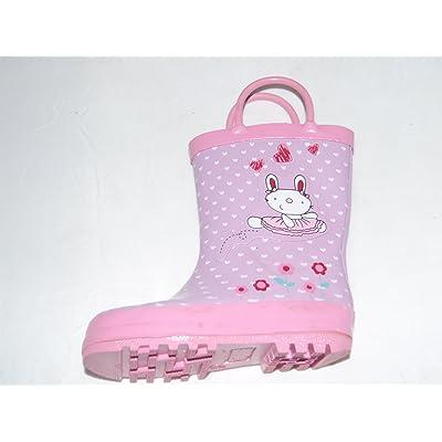 Girls Kids Pink Bunny Rabbit Wellies Wellington Outdoor Boots By Crazy Toes
