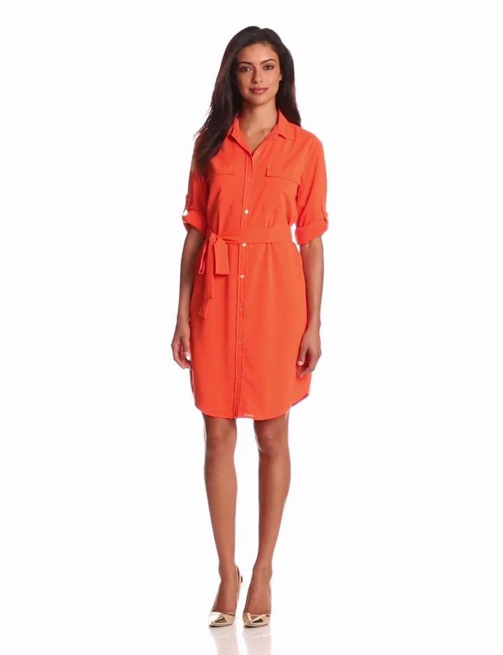 Calvin Klein Womens Shirt Dress, Tangerine, X Large
