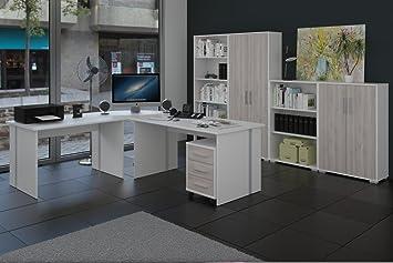 Buromöbel, Arbeitszimmer 8-teilig in Weiss mit Fronten in Sonoma-Sorrento