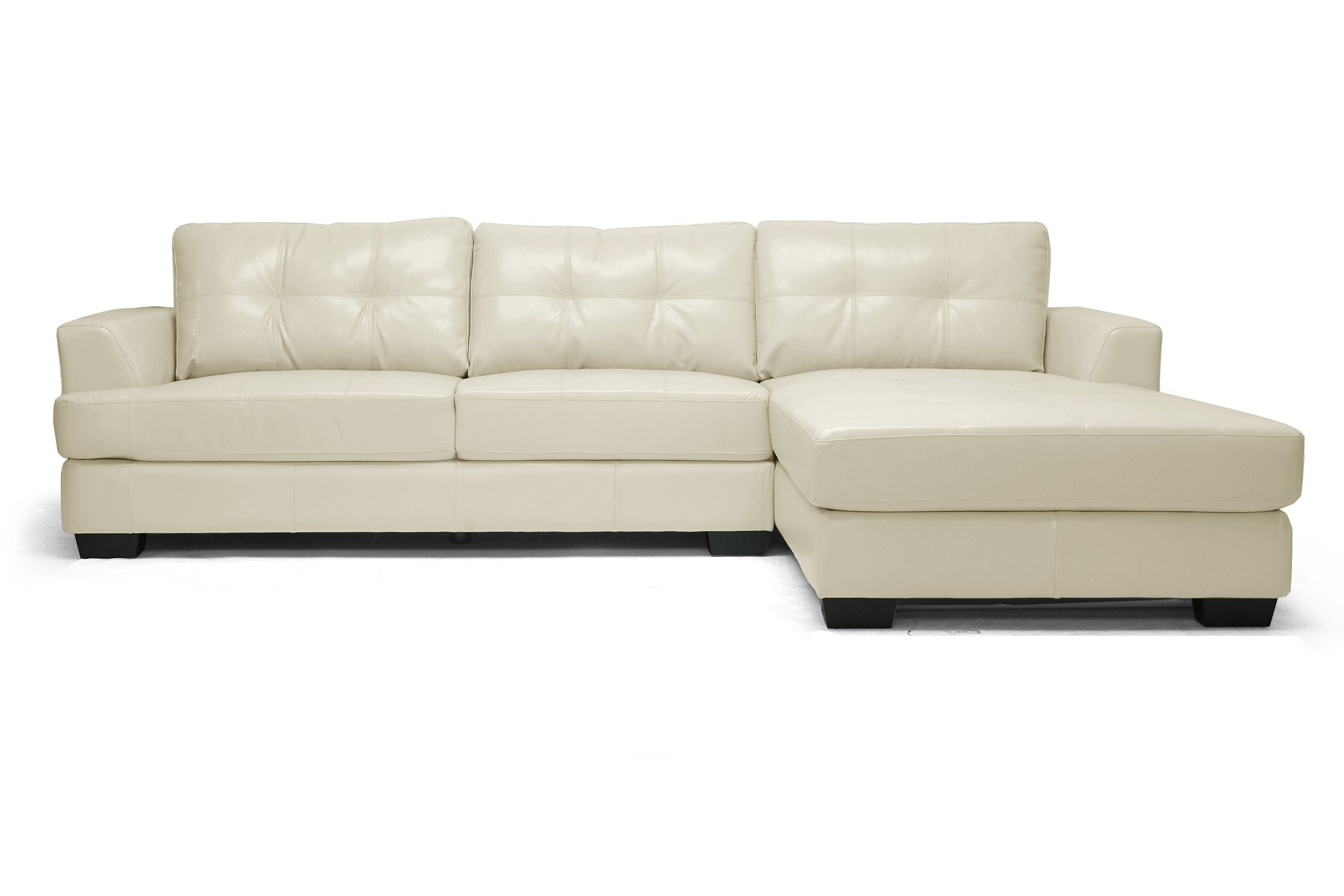 Baxton Studio Dobson Leather Modern Sectional Sofa Cream
