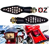 Motorcycle Turn Signal LARGE OZ-USA Amber LED Light Front & Rear Dual Intensity Smoke Lens 12 Volts Universal Blinker (Color: Amber)