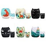 ALVABABY Baby Cloth Diapers One Size Adjustable Washable Reusable for Baby Girls and Boys 6 Pack with 12 Inserts 6DM50 (Color: Sets 6DM50, Tamaño: All in one)