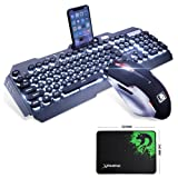 LexonElec@ Technology Keyboard Mouse Combo Gamer Wired White LED Backlit Punk Keycap Metal Pro Gaming Keyboard + 2400DPI 6 Buttons Mouse + Mouse Pad for Laptop PC (Black & White Backlit & Punk Keycap) (Color: Black & White Backlit & Punk Keycap)
