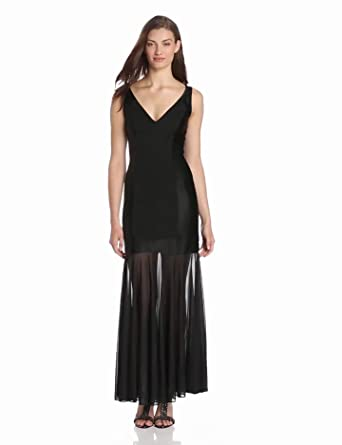 HALSTON HERITAGE Women's Sleeveless V-Neck Ponte Evening Gown with Charmeuse Contrast, Black, 0