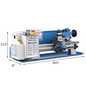 BestEquip Mini Metal Lathe 550W 7 x 14 Inch Metal Lathe 0.75HP 2500 RPM Infinitely Variable Spindle Speed Mini Lathe for Various Types of Metal Turning (7x14 inch) (Color: 7x14 inch)