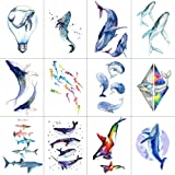 WYUEN 12 PCS/lot Whale Shark Temporary Tattoo Sticker for Women Men Fake Tatoo Body Art Adult Waterproof Stickers 9.8X6cm W12-06