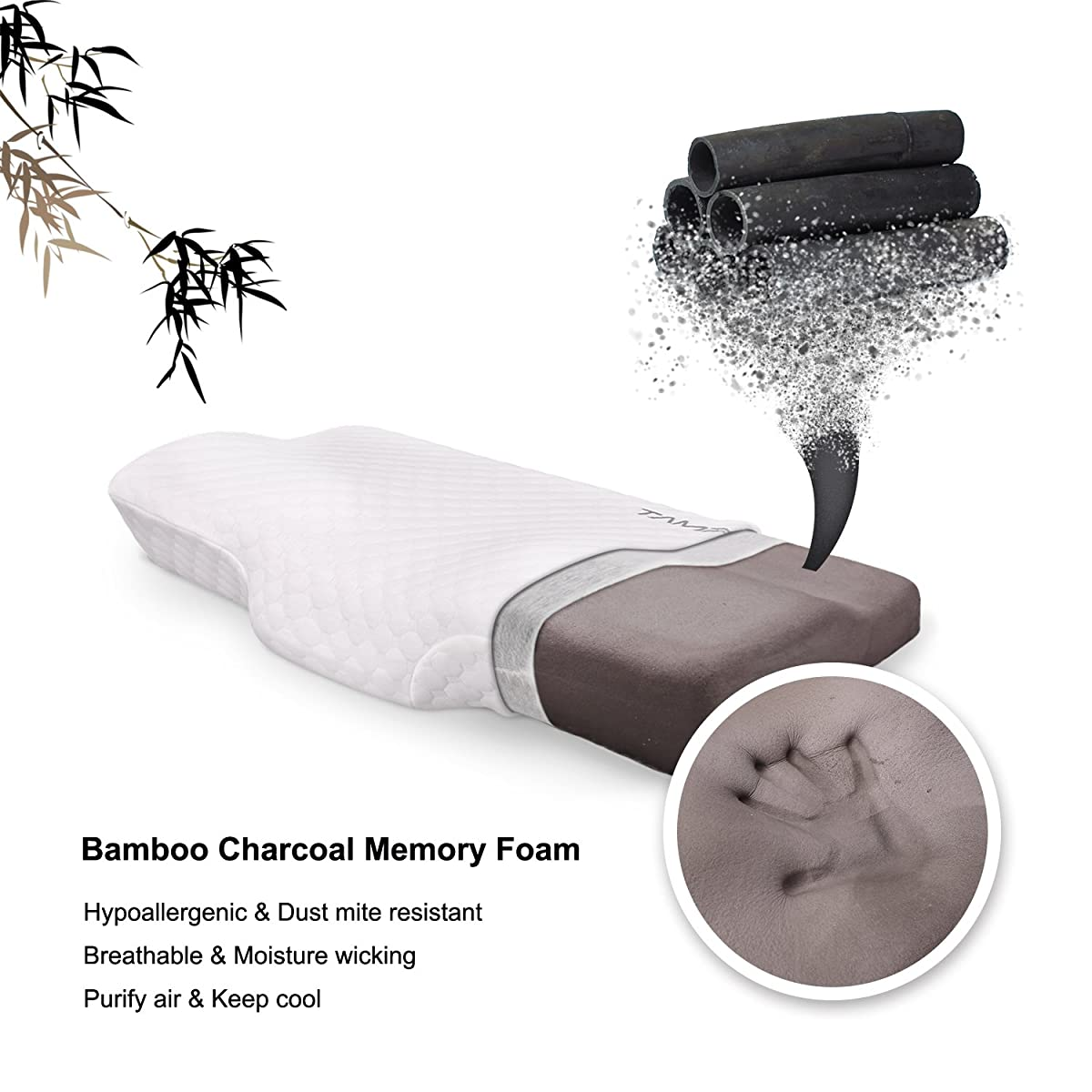 "Memory Foam Pillow Bamboo Charcoal Contour Pillow, Extra Gift Pillow Case, Hypoallergenic Ergonomic Neck Pillow for Neck Support by TAMPOR, Standard 24""x14""x4.3"""