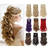 8PCS Clip in Hair Extensions Highlight Straight Wavy Curly Full Head Colorful Hairpiece Black Brown Blonde (Color: Dark Black #1, Tamaño: 24