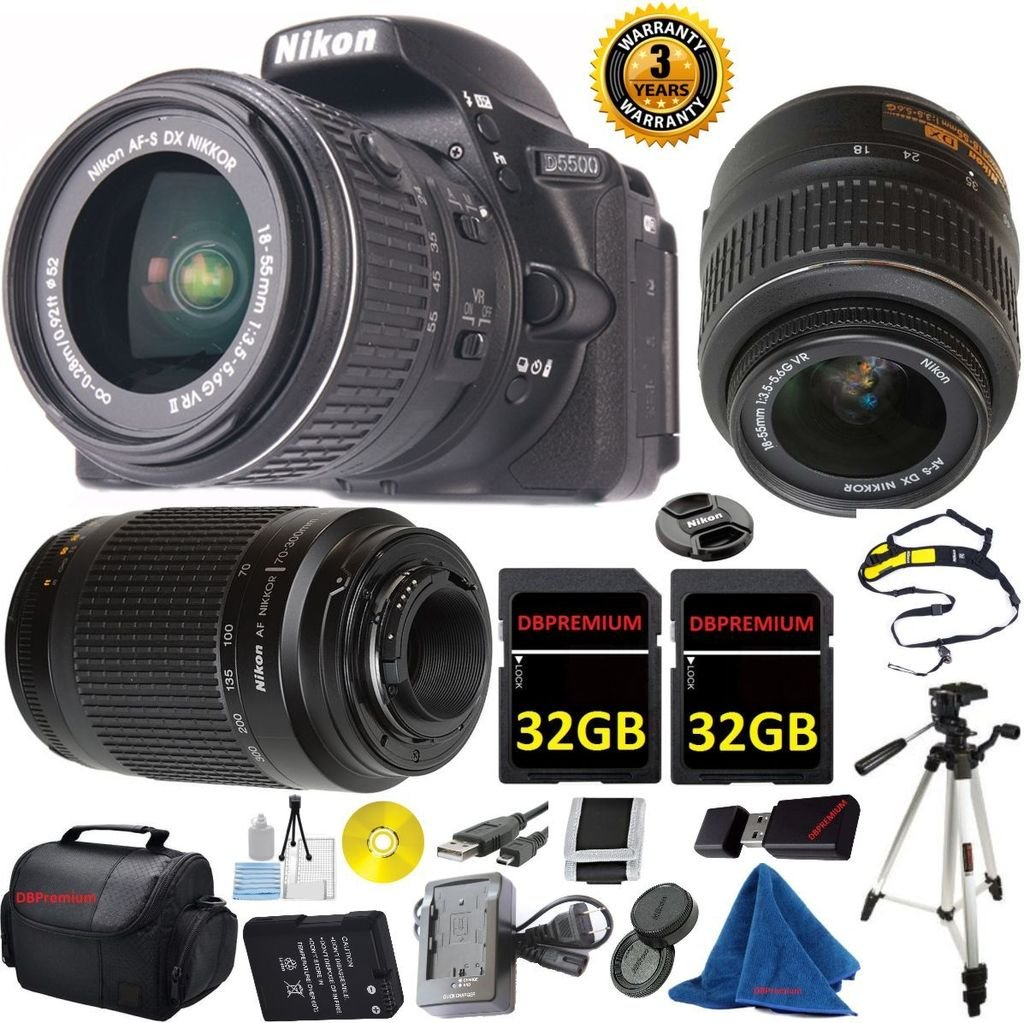 Nikon D5500 DX-Format DSLR Digital Camera Body, Nikon 18-55mm VR Lens, Nikon 70-300mm f/4-5.6G Auto Focus Nikkor, 2pcs 32GB DBPREMIUM Memory, Camera Case, 3 YEAR WORLDWIDE WARRANTY